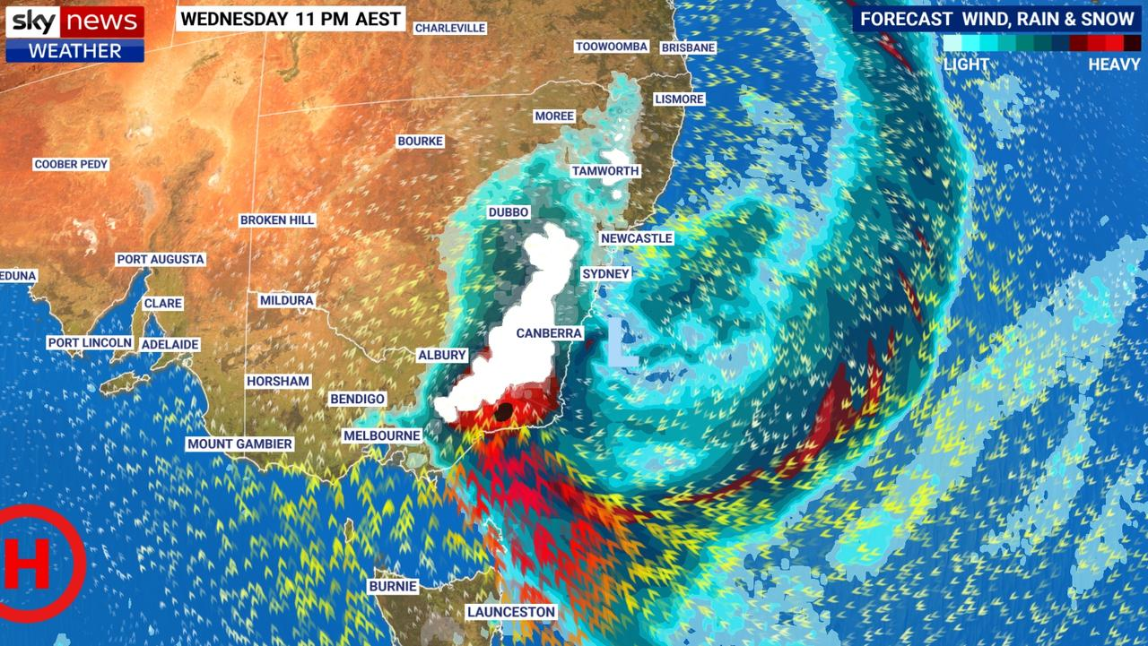 Heavy rain and snow is forecast on Wednesday night in southeast NSW and eastern Victoria. Picture: Sky News Weather