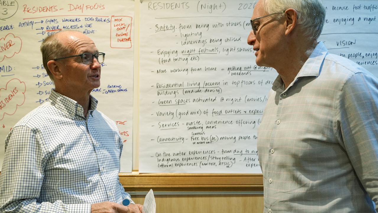 Think tank facilitators, business strategist Peter Ffrench and Inspiring Cities managing director John Aitken, at a session in Mackay about reviving the city centre. Picture: Heidi Petith
