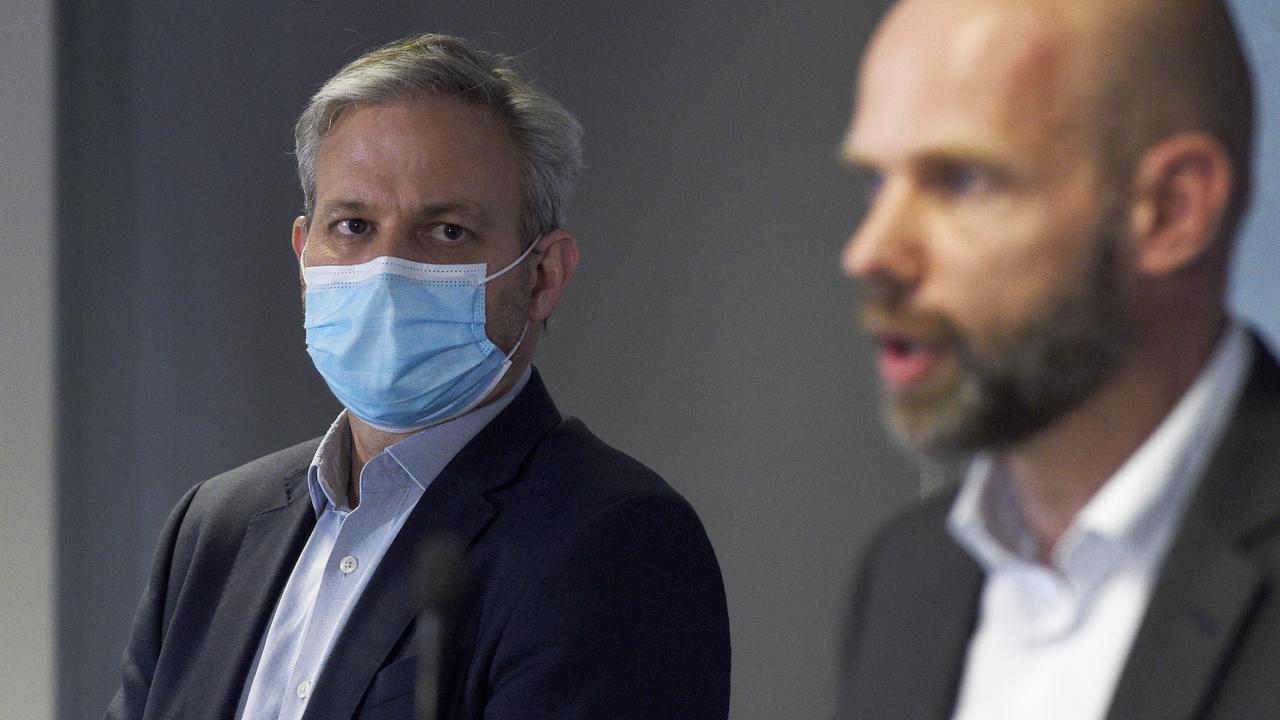 Victorian Chief Health Officer Brett Sutton and Testing Commander Jeroen Weimar. Picture: NCA NewsWire / Andrew Henshaw