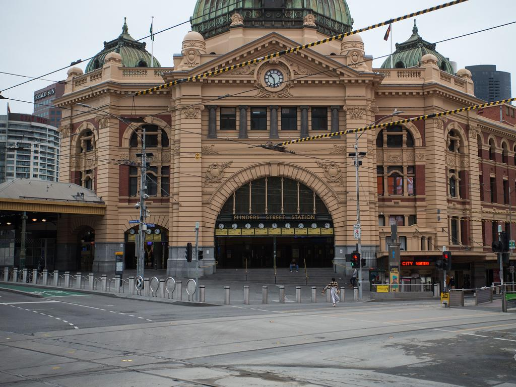 Melbourne streets are empty amid a two week lockdown due to the recent outbreak of coronavirus. Picture: Paul Jeffers