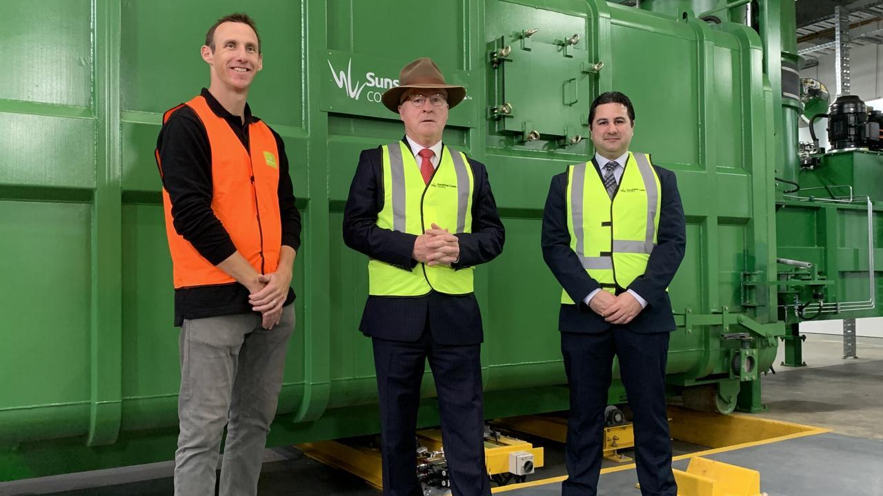 Envac operations manager Scott Mackie, Mayor Mark Jamieson and Sunshine Coast Council's group executive for customer engagement and planning services James Ruprai inspect the Maroochydore Waste Transfer Facilty on Tuesday.
