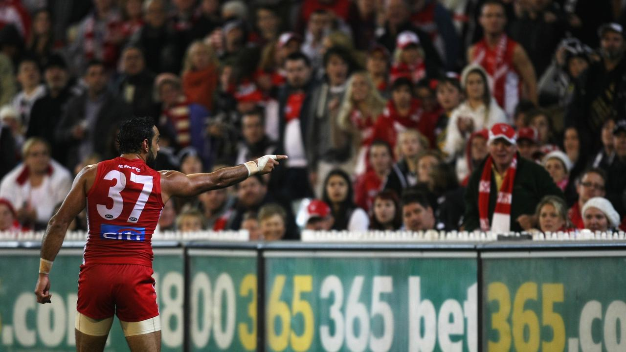 Adam Goodes points into the crowd alerting security to comments made during the 2013 clash with Collingwood. Picture: AFL Media