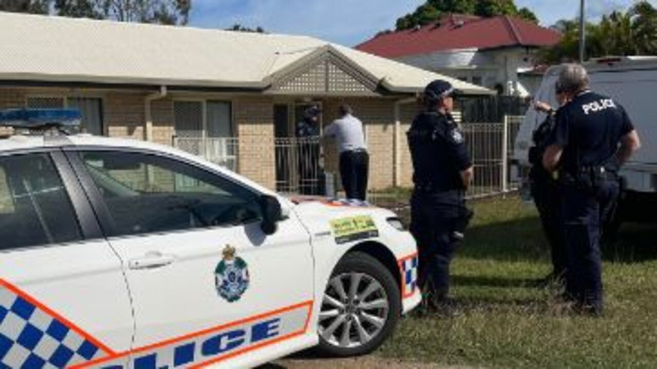 Police guarding the scene of a fatal dog attack at Maryborough.