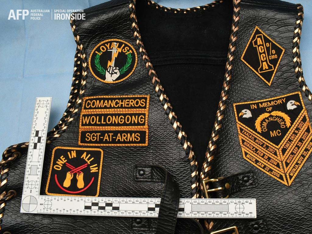 A Comanchero vest seized as part of raids conducted after Operation Ironside.