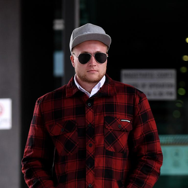 Trent Thorburn, the foster brother of murdered 12-year-old schoolgirl Tiahleigh Palmer, leaves the Coroners Court in Brisbane. Picture: Dan Peled