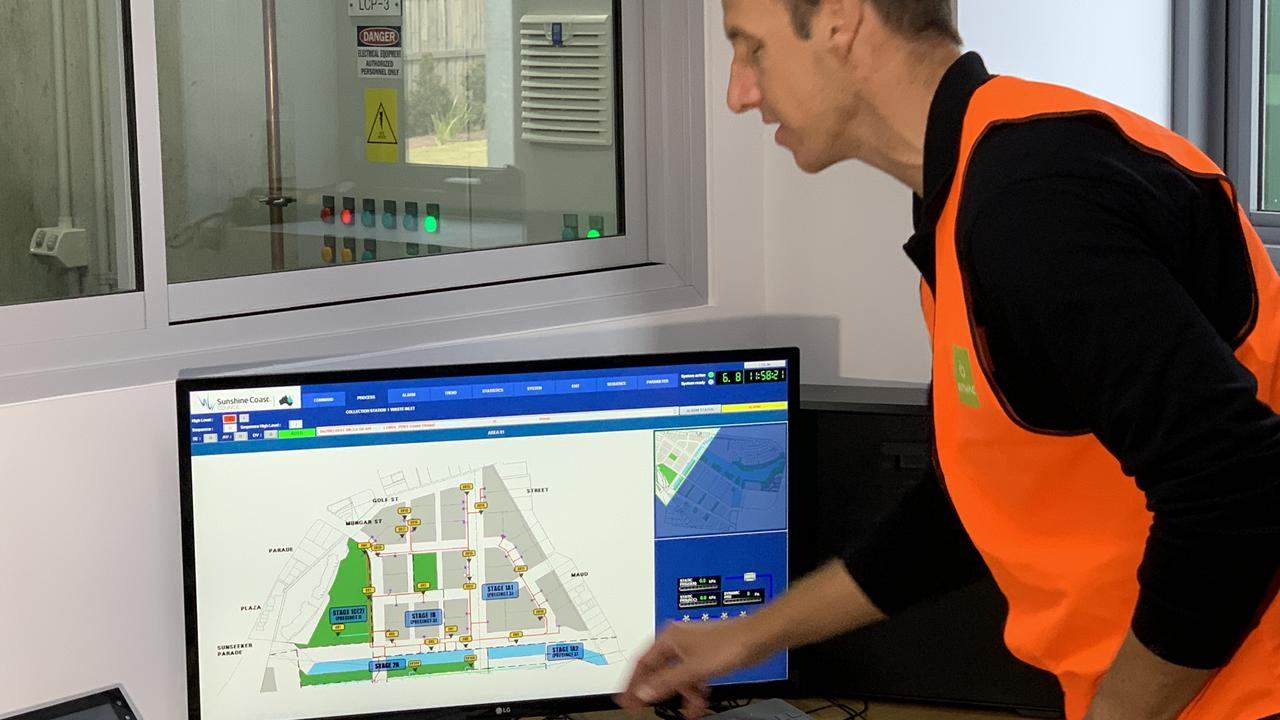 Envac operations manager Scott Mackie runs through the control hub which enables individual bins to be emptied as needed across the site.