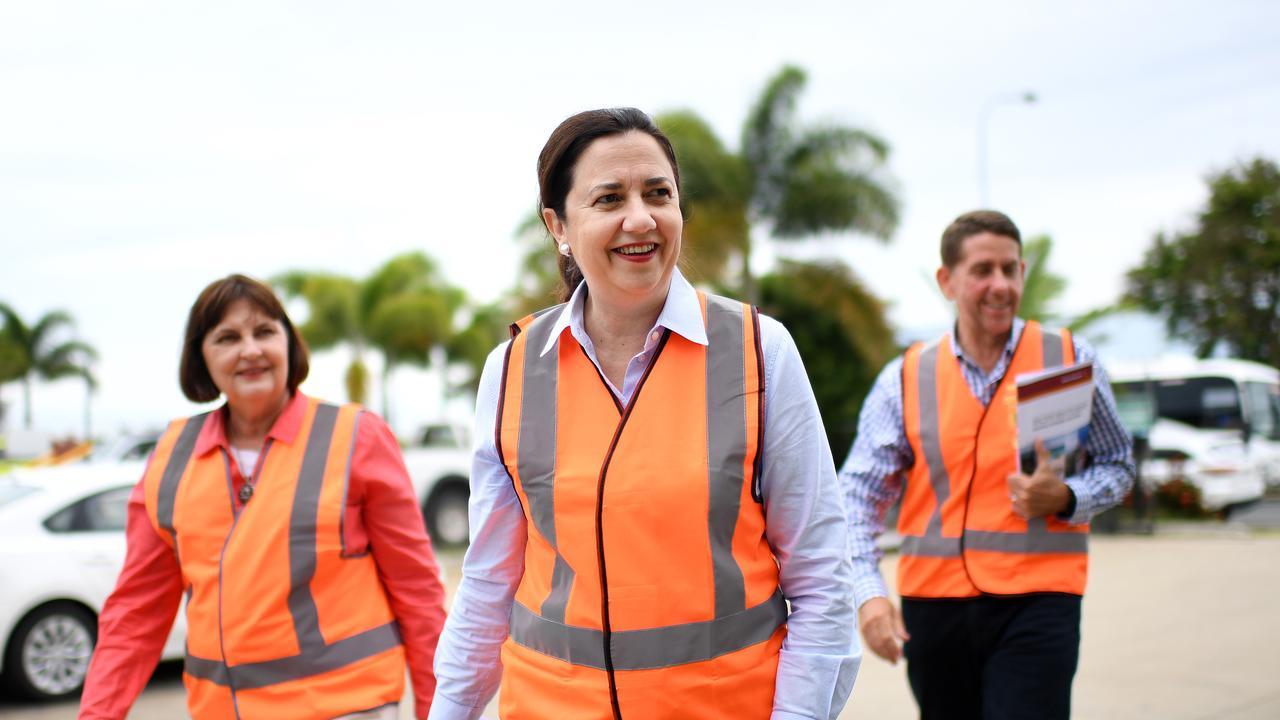 Queensland Premier Annastacia Palaszczuk (centre) arrives with Mackay MP Julieanne Gilbert and Treasurer Cameron Dick to visit De Goey Contractors (DGC). Picture: NCA NewsWire / Dan Peled