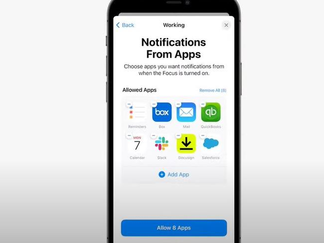 You can customise your focuses, selecting which apps are able to notify you while they're turned on. Picture: Apple