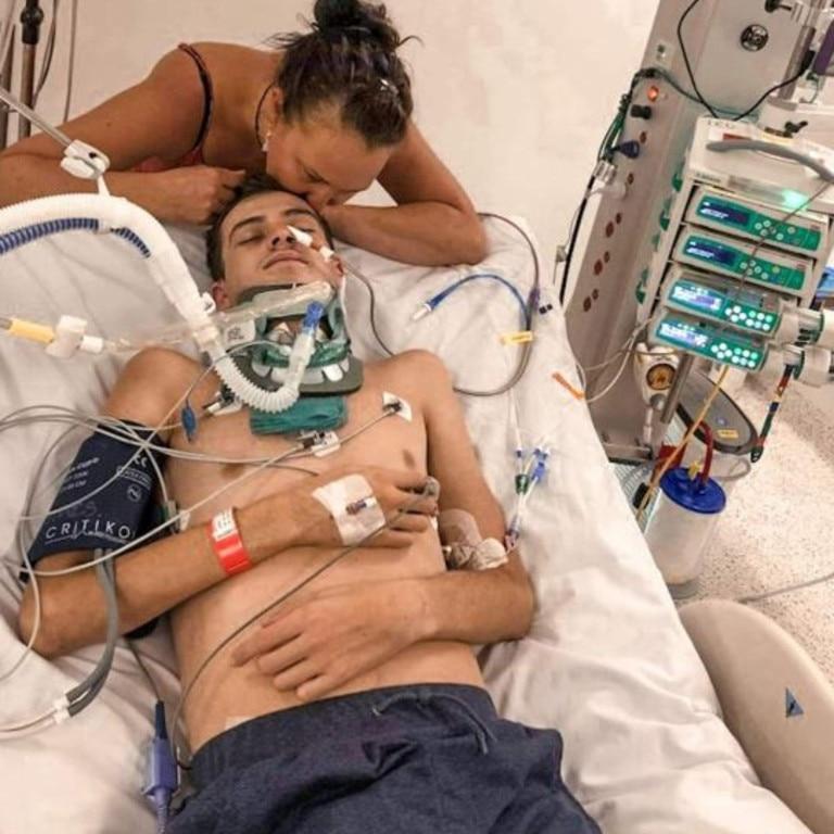 Zac Longfield at Gold Coast University Hospital after the attack. Photo: GoFundMe