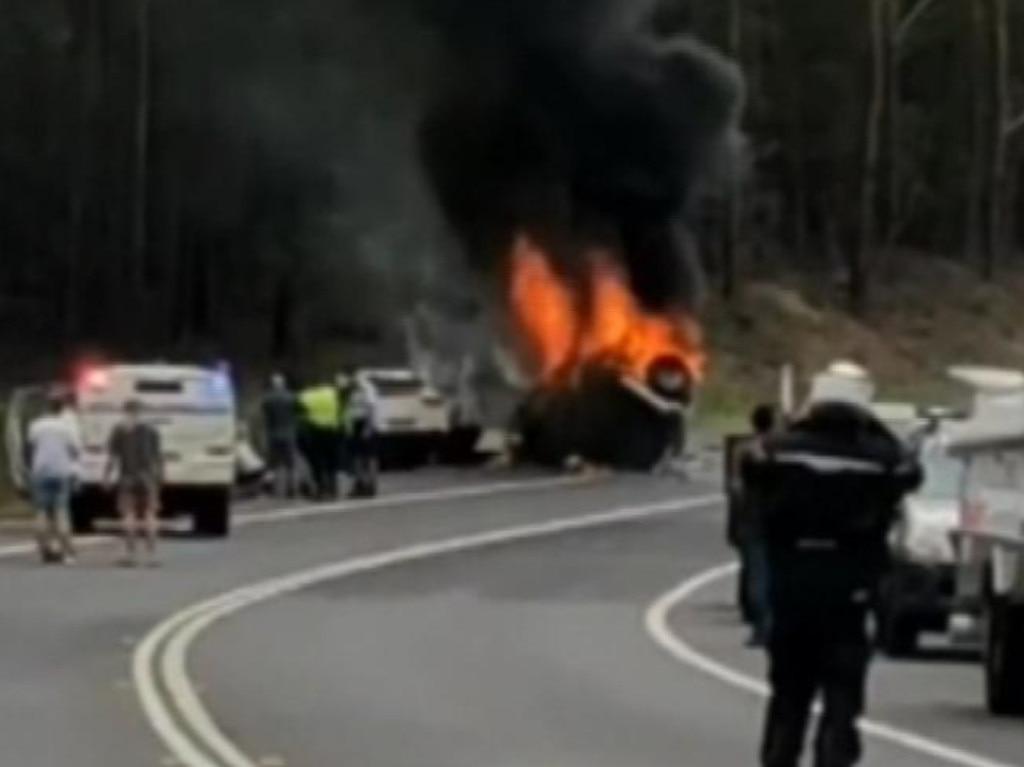 The crash scene on December 26, 2017. Picture: Nine News