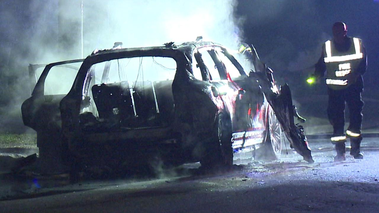 Police are investigating whether a shooting and car fire overnight are linked. Picture: TNV