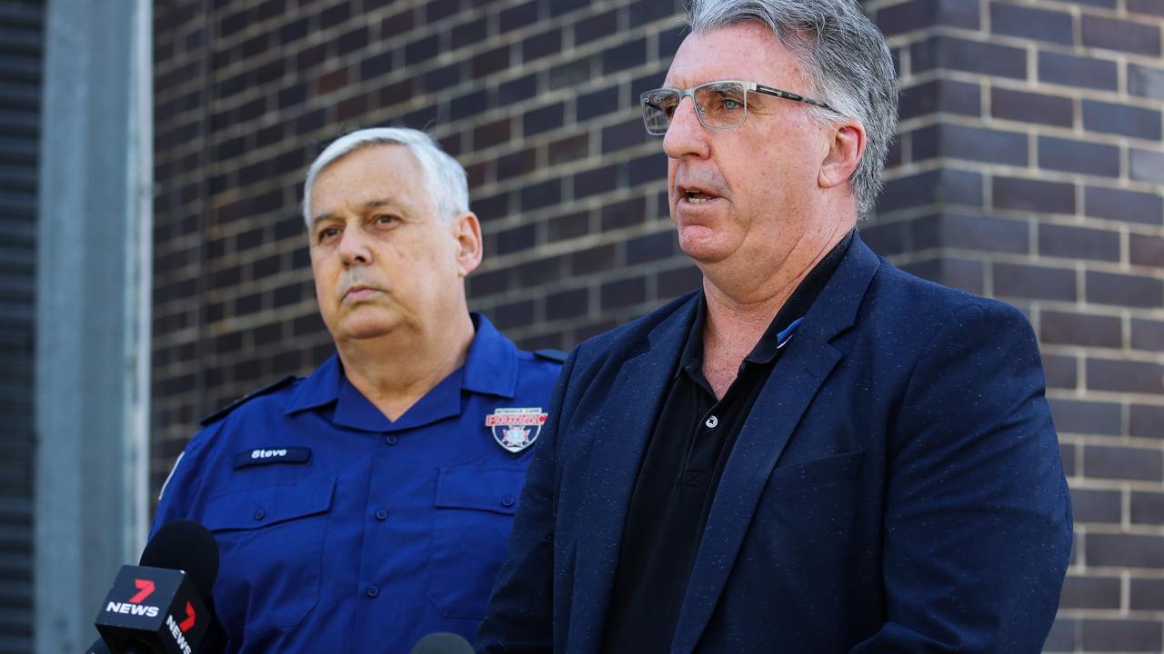 Steve Fraser with HSU secretary Gerard Hayes speaking to reporters last week in Sydney. Picture: NCA NewsWire / Gaye Gerard