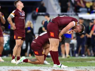 A dejected Jai Arrow after losing Game 1 of the 2021 State of Origin Series between Queensland and NSW at Queensland Country Bank Stadium, in Townsville. Pics Adam Head