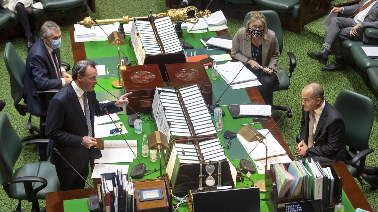Opposition Leader Michael O'Brien and Acting Premier James Merlino during the heated exchange in parliament on Wednesday. Picture: NCA NewsWire / David Geraghty