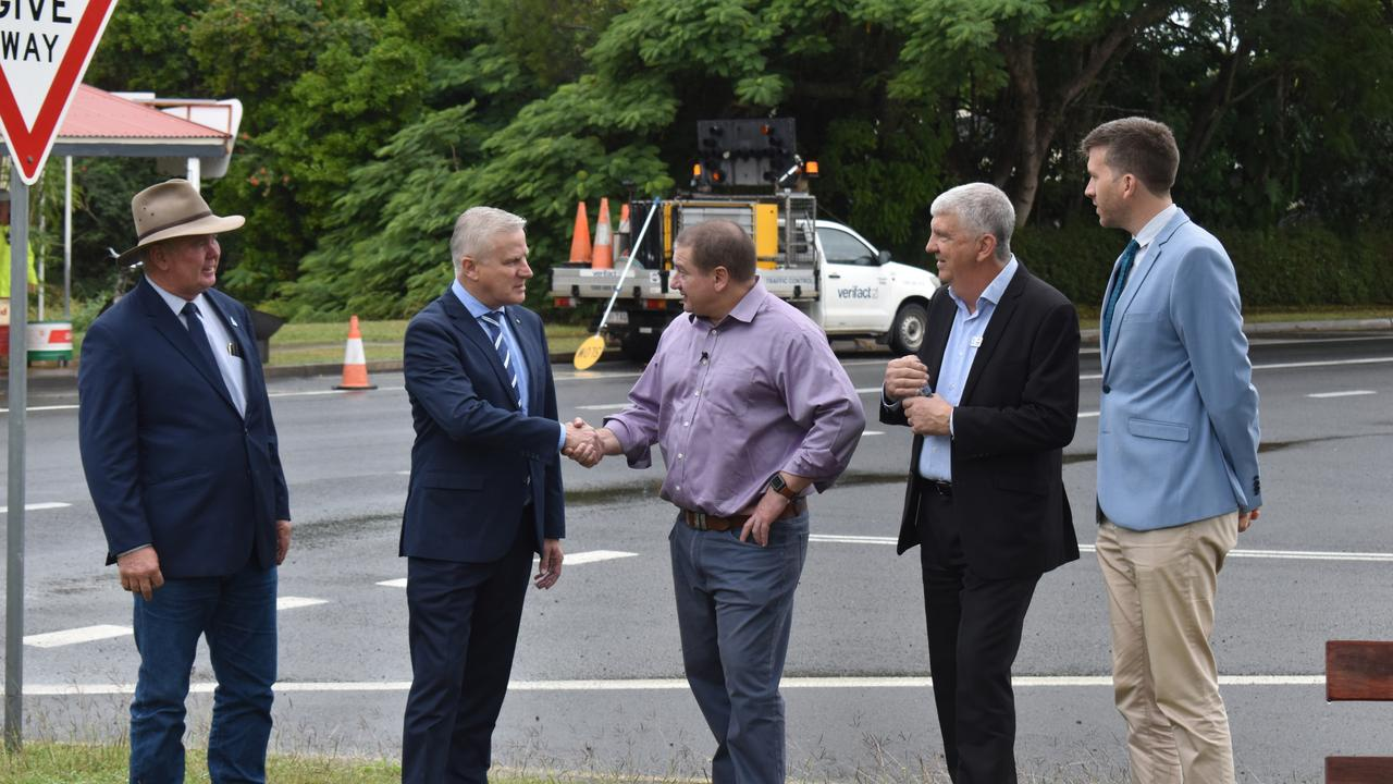 Deputy Prime Minister Michael McCormack and Wide Bay MP Llew O'Brien shake hands as Fraser Coast Councillors (L) Denis Chapman, Phil Truscott and Paul Truscott watch on. It comes after $268 Federal funding was announced for the Tiaro Bypass. Photo: Stuart Fast