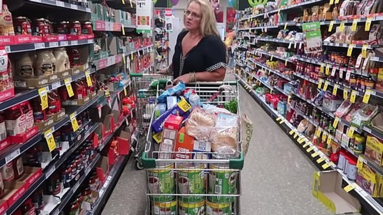 The supermum usually does her grocery shop at the start of each week, totalling about $450. Picture: YouTube