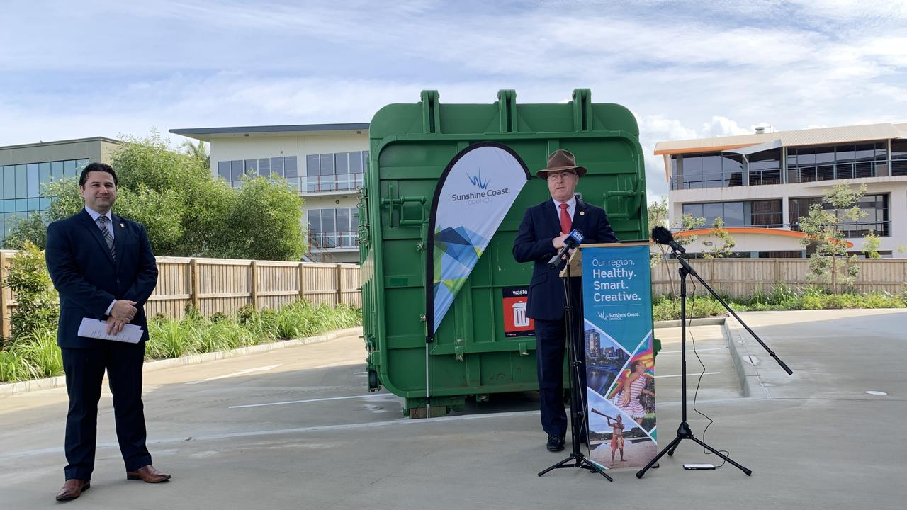 Mayor Mark Jamieson addresses the crowd gathered as Sunshine Coast Council's group executive for customer engagement and planning services James Ruprai, looks on.