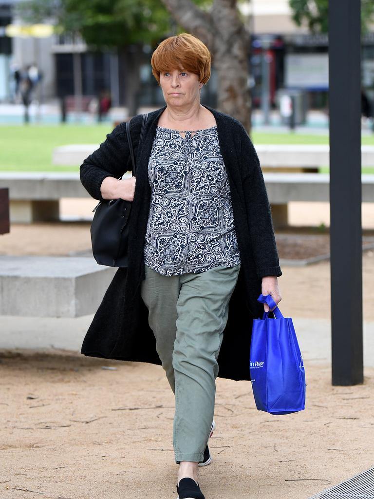 Julene Thorburn, the foster mother of murdered 12-year-old schoolgirl Tiahleigh Palmer, leaves Brisbane Coroners Court. Picture: Dan Peled/NCA NewsWire