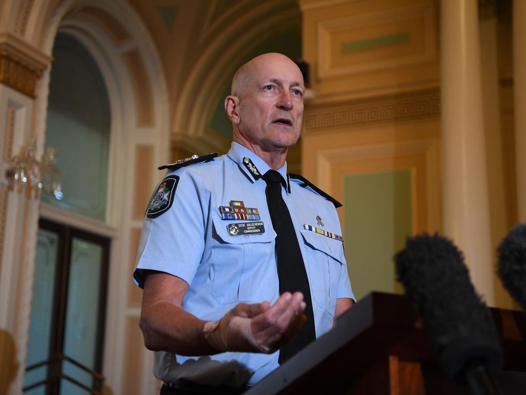 Queensland Police Deputy Commissioner Steve Gollschewski provided a COVID-19 update on Wednesday. Picture: NCA NewsWire / Dan Peled