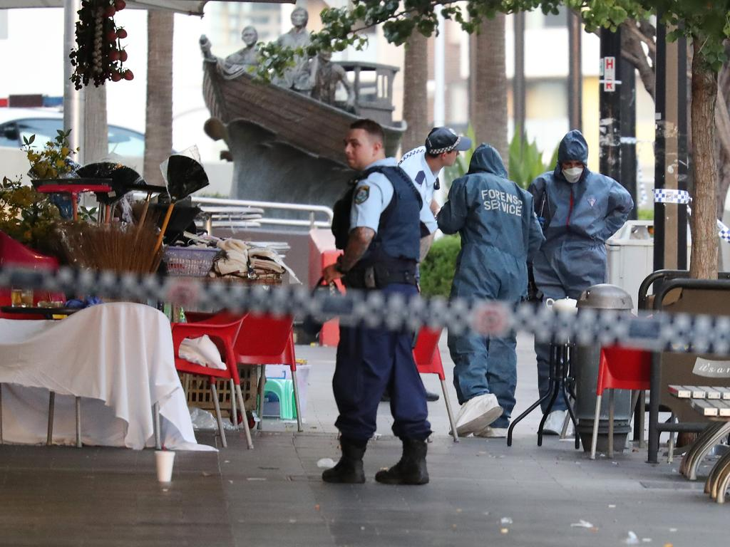 The scene where Ho Ledinh was murdered at Bankstown Plaza. Pictures: David Swift.