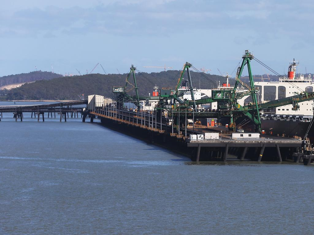 Generic views of Gladstone port , coal loading facility , and harbour , with Curtis Island behind . Gladstone QLD