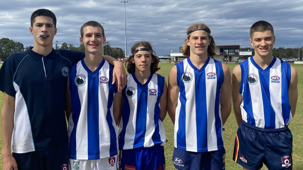 Sunshine Beach State High senior boys AFL players Bayley Crawford, Angus Castle, Tom McNally, Zak Crozier and Dane Larson.