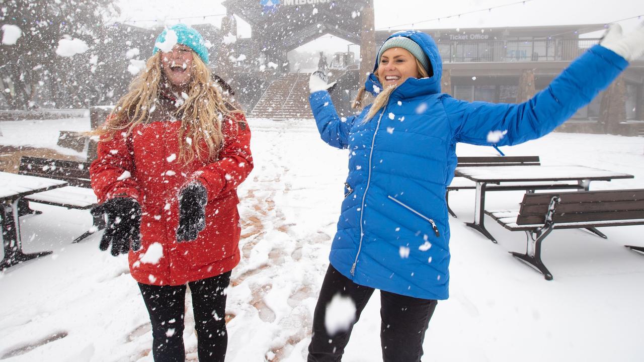 Kat and Shanae enjoy the fresh snow at Mount Buller.