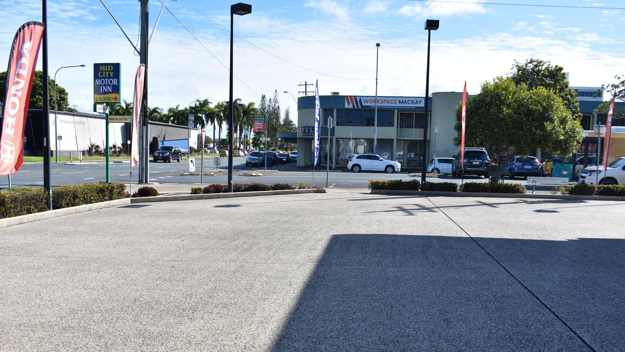 The empty yard at North Jacklin Honda in Mackay. Picture: Melanie Whiting