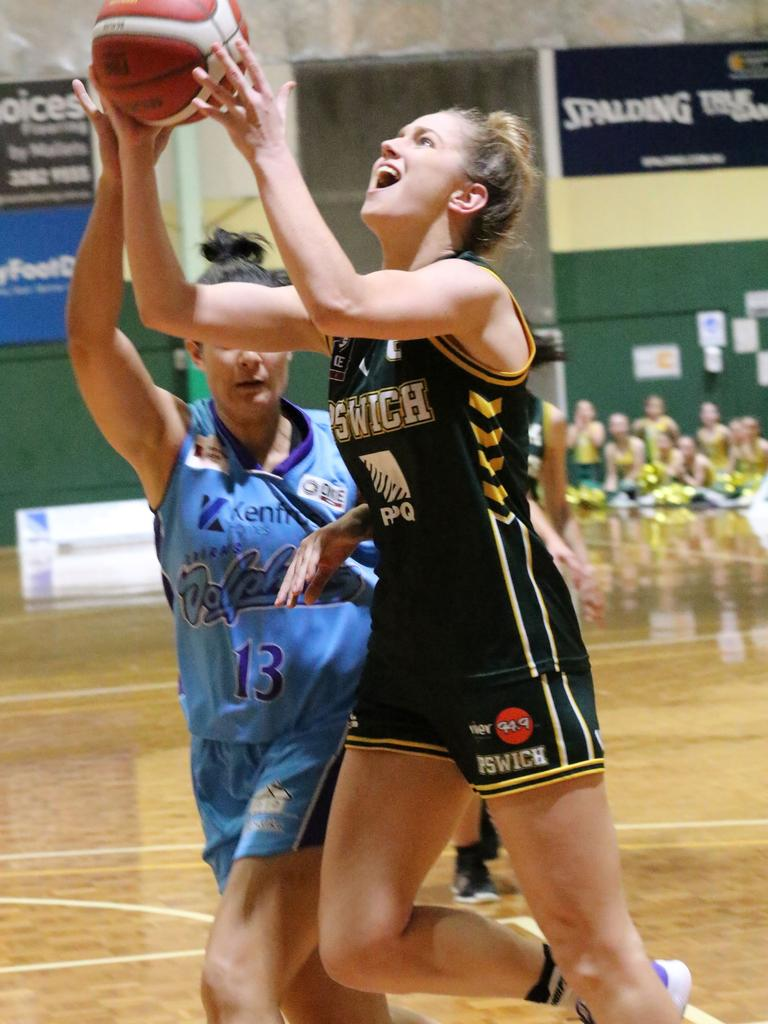 Ipswich Force player Catherine MacGregor works hard in her team's first win of the NBL1 North competition, against Cairns at JBS Stadium. Picture: Megan Low