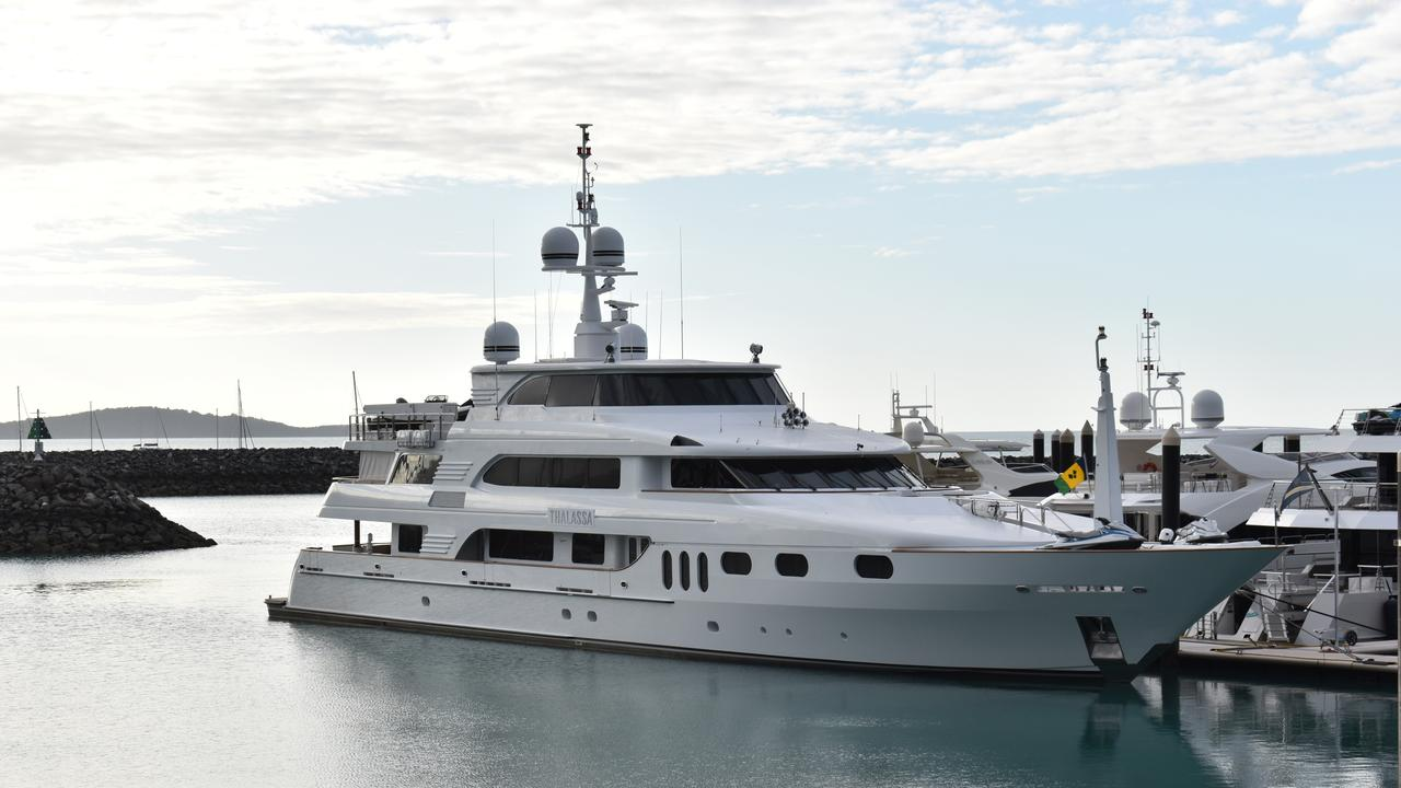It's hard to miss the luxury superyacht 'Thalassa' docked at Coral Sea Marina for the filming of a new reality tv series.
