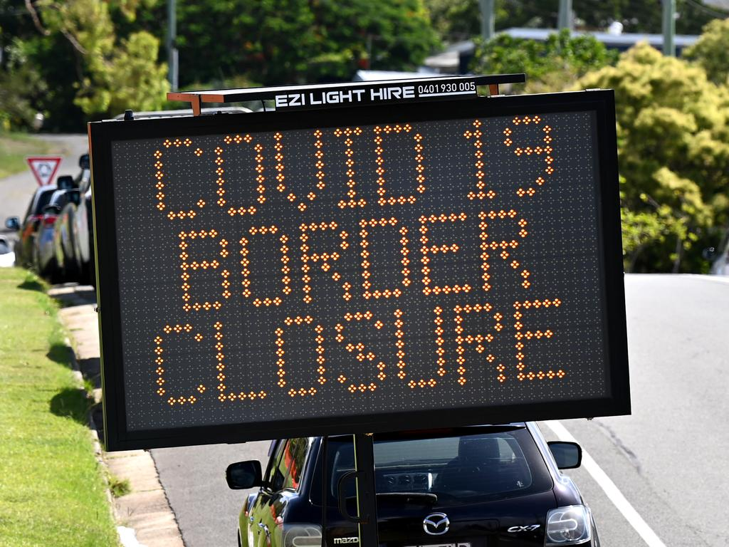An electronic sign during the January school holidays warns the NSW-Queensland border is closed. Never again should this happen, industry bosses say. Picture: NCA NewsWire / Dan Peled