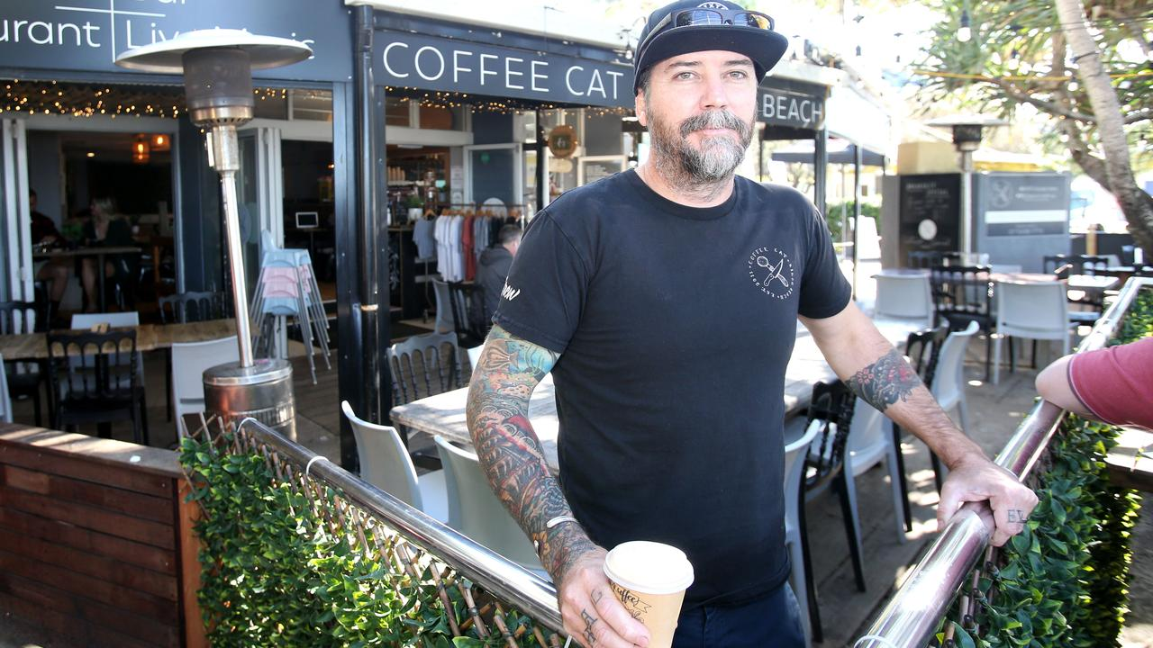 Pierre Mortensen, Owner of Coffee Cat at Kings Beach where two Covid-positive people visited after crossing the border at Goondiwindi and went to the Sunshine Coast. Photo Steve Pohlner