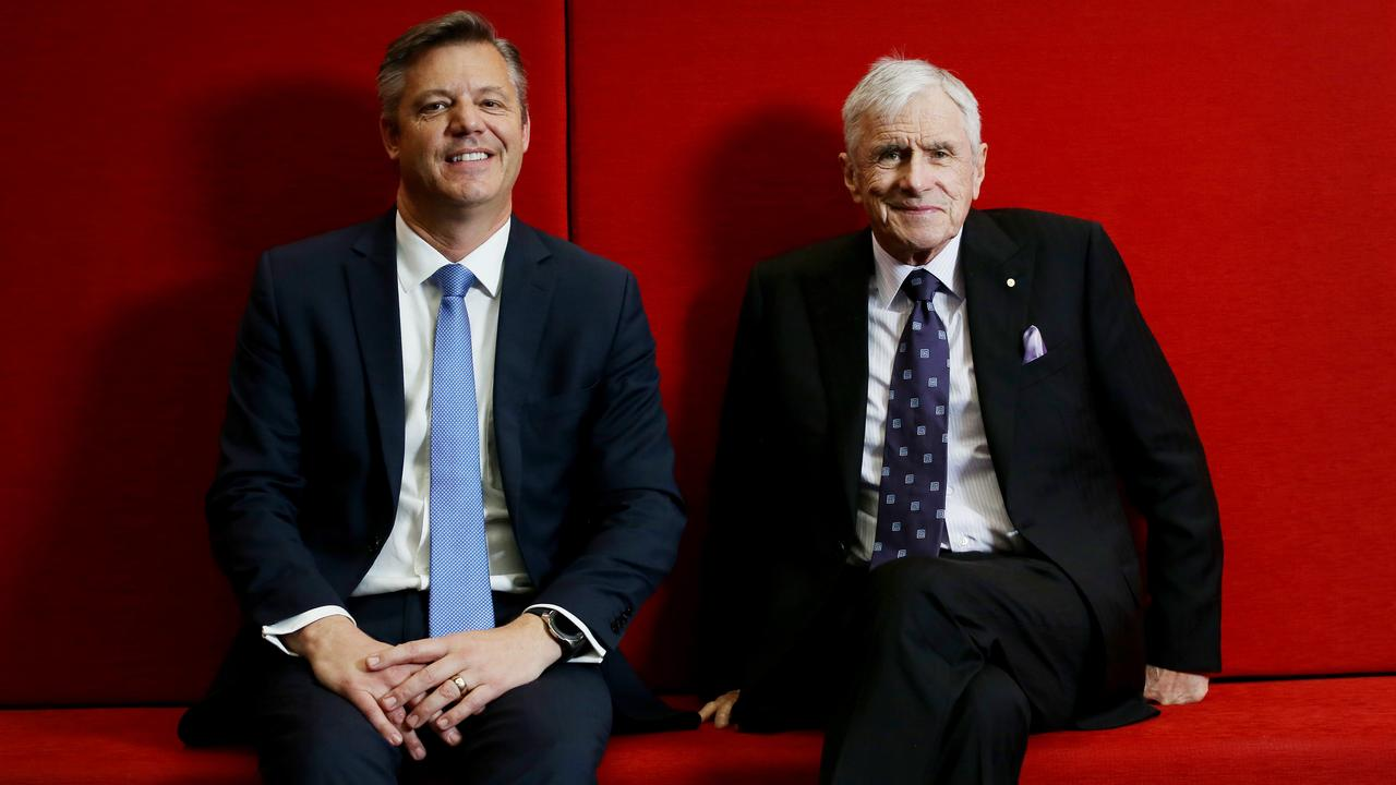 Seven Group's lowball offer has been resoundingly rejected by Boral. Pictured is Seven boss Kerry Stokes with Seven West Media chief executive officer James Warburton. Picture: Nikki Short