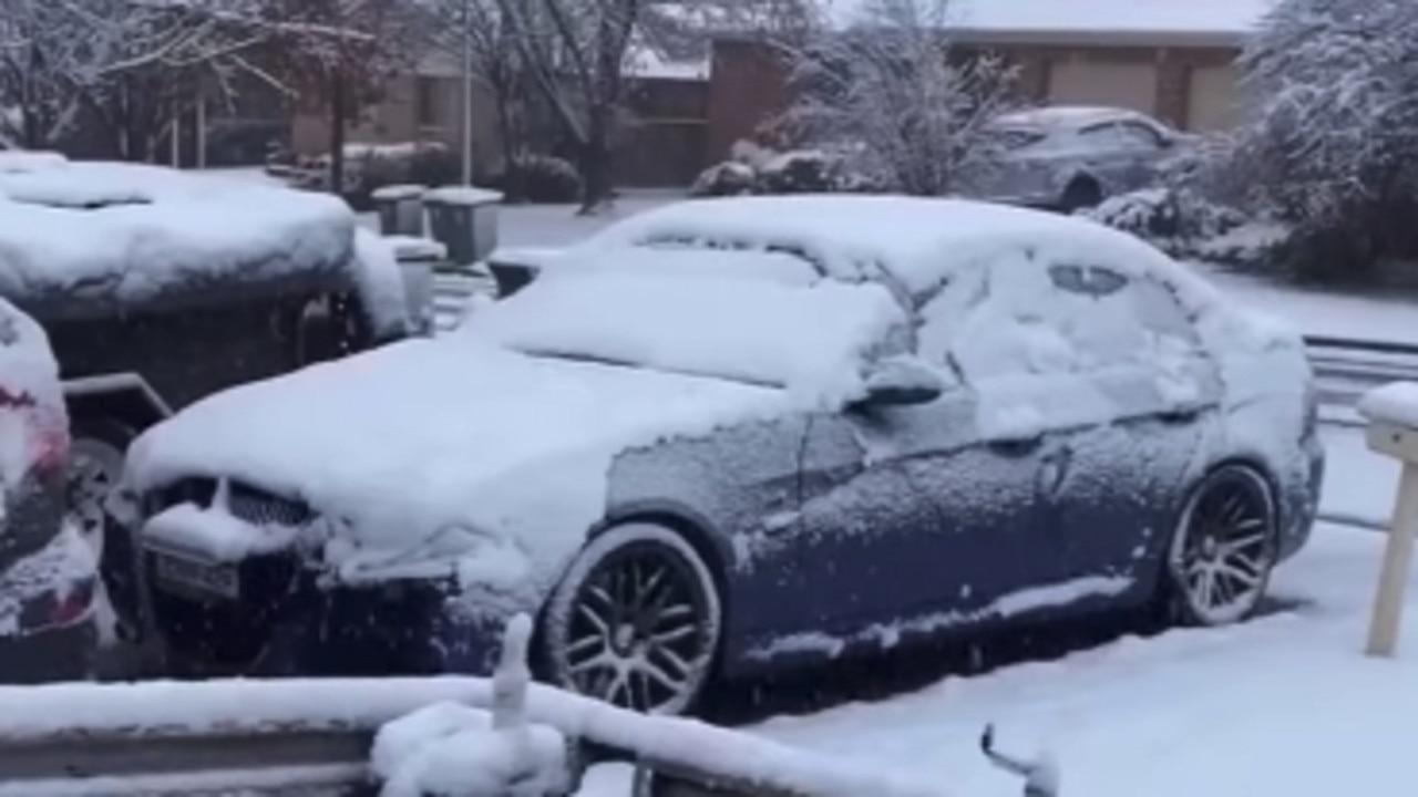 Snow covering cars in Orange. Picture: Facebook