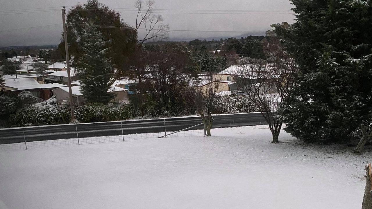 Snow seen in Guyra. Picture: Karen Faint