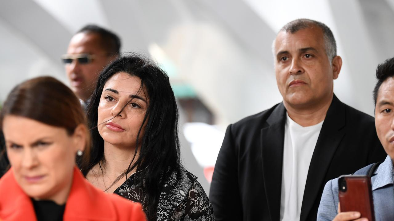 Drew Pavlou's parents, Vanessa and Nick Pavlou, at one of the cases their son has been involved in since his University of Queensland protest. Picture: NCA NewsWire/Dan Peled.