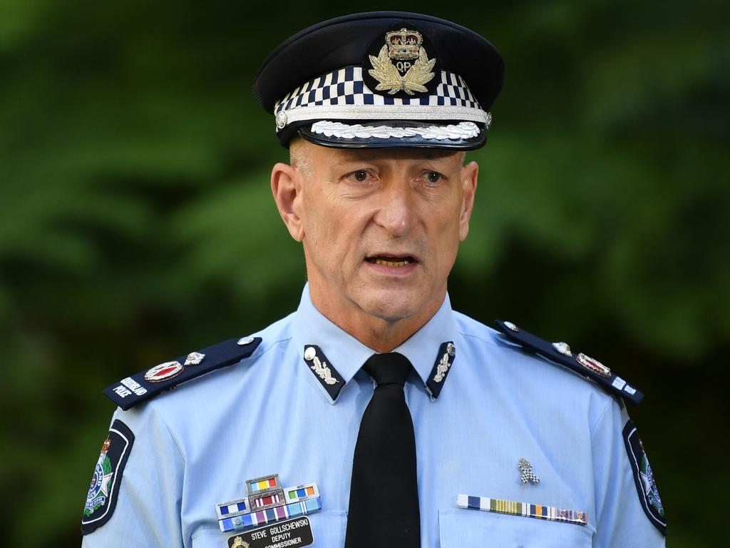 Queensland Police Deputy Commissioner Steve Gollschewski speaks during a press conference. Picture: NCA NewsWire / Dan Peled