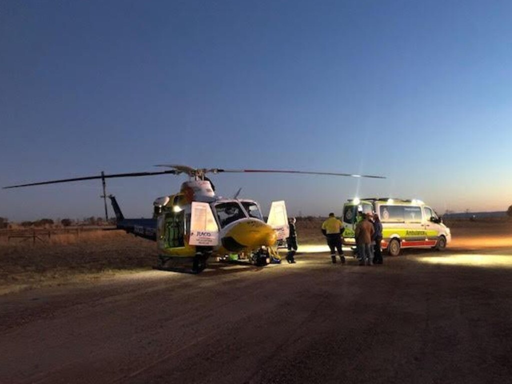 RACQ Capricorn Helicopter Rescue attends a man trampled by a bull.