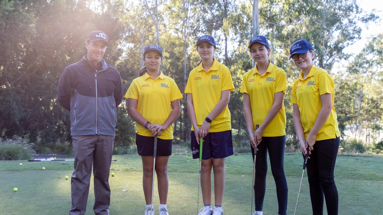 PGA personality John Collins alongside some of the St Augustine's College Students taking part in the program.