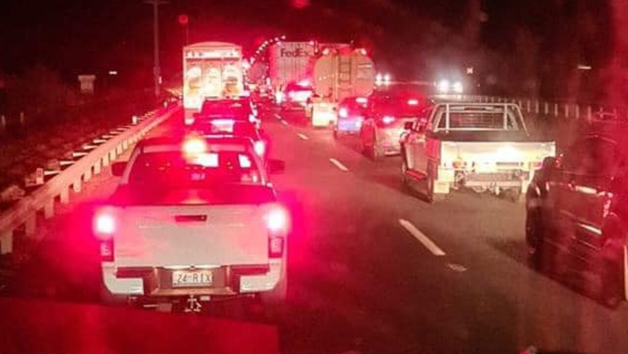 Traffic banks up after a multi-vehicle crash at Haigslea. Picture: Cam Jay