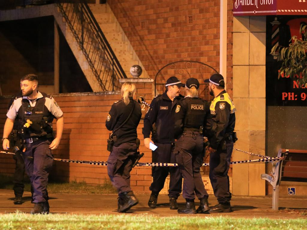 A police officer suffered a stab wound to his hand. Picture: Christian Gilles
