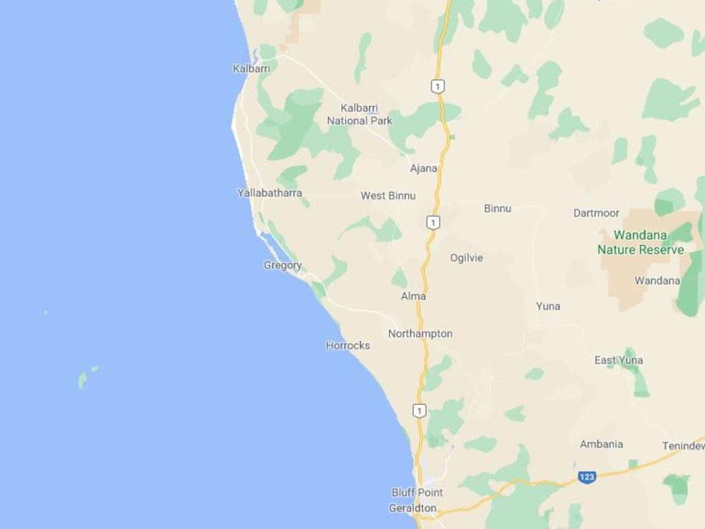 The kite surfer, in his 70s, went missing on Wednesday at the mouth of the Murchison River at Kalbarri, some 500km north of Perth. Picture: Google Maps.