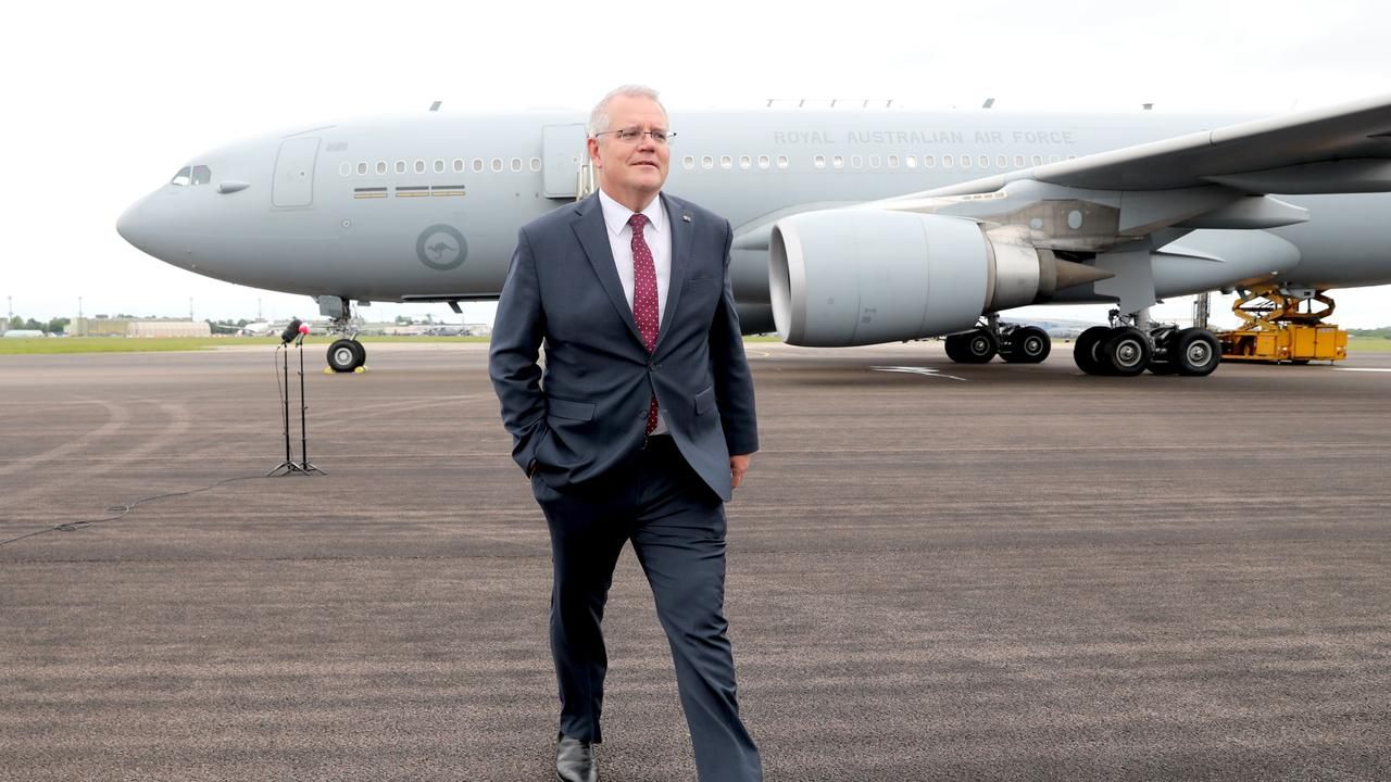 Australian Prime Minister Scott Morrison lands in the United Kingdom ahead of the G7 Summit in Cornwall. Picture: Adam Taylor/PMO