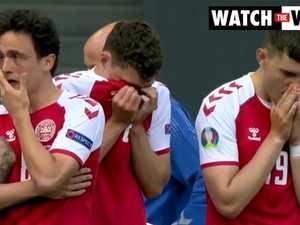 Emotional scenes following Christian Eriksen's collapse (BBC)