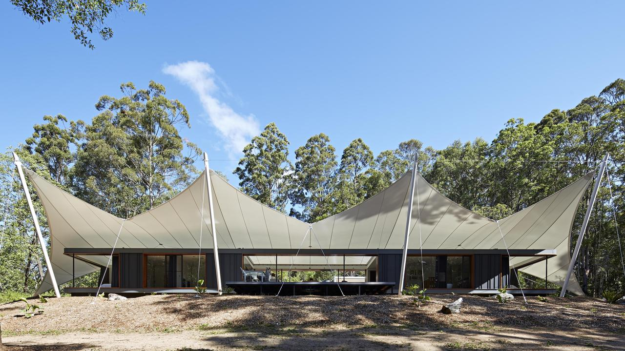 The 'tent house' in Verrierdale, near Noosa, is one of the most unique and sustainable homes in Queensland.  Photo: Foxtel / Grand Designs Australia.