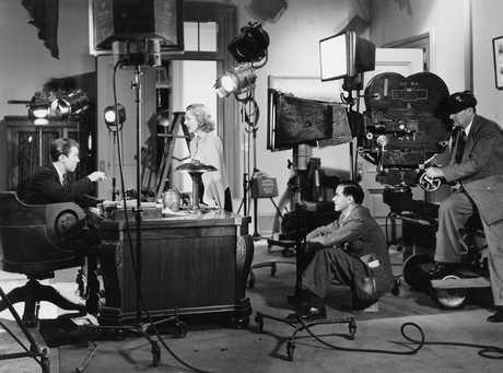 James Stewart, Jean Arthur and Frank Capra on set Mr. Smith Goes to Washington (1939).