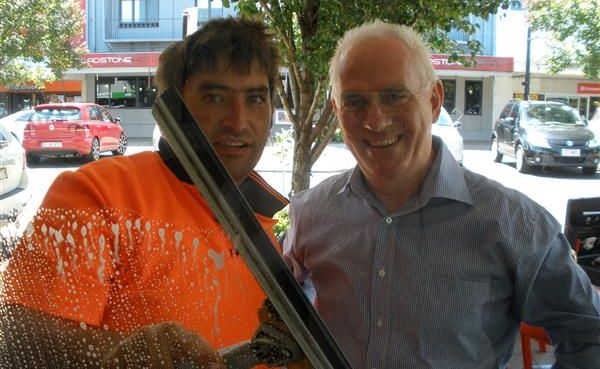 Terry Koukoulis professional window cleaner with Greg Johnson
