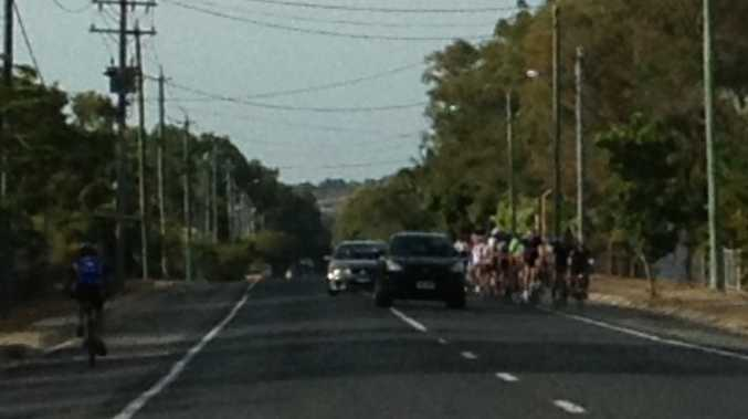 Saturday Morning on Slade Point Road  cyclist forcing cars into oncoming traffic