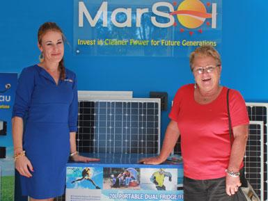 Lily Lewis of Marsol presents Cheryl with her new EvaKool portable fridge.