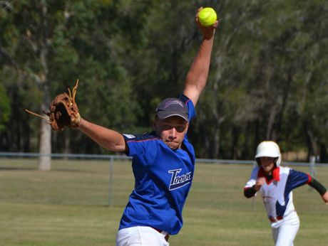 Dylan Sheehan pitches for the Queensland Championship-winning Toowoomba Under 17 boys softball team.